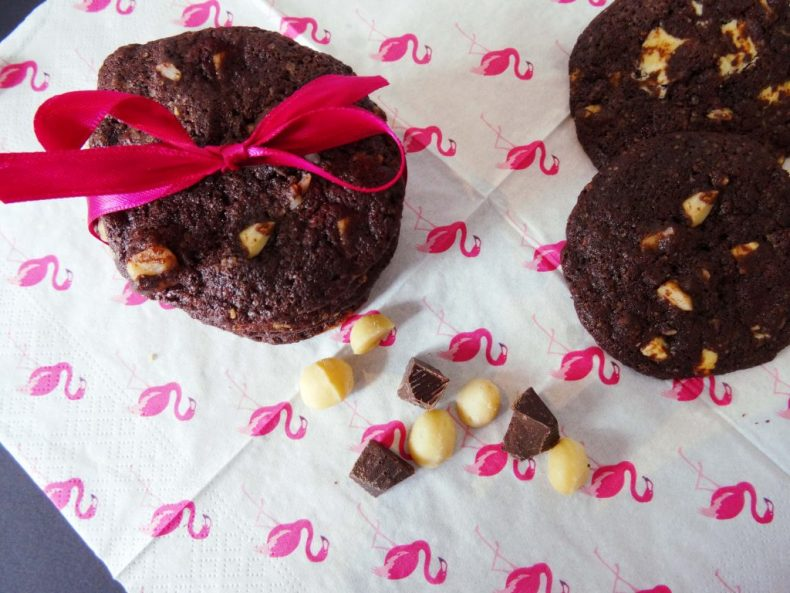 Chewy Chocolate Cookies with salted Macadamia
