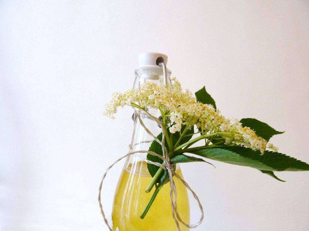 Sirupflasche mit Holunderblüten