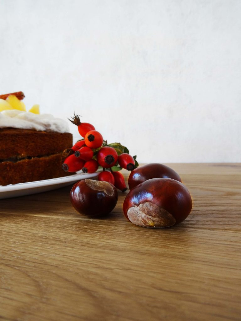 Kastanien, Hagebutten, Kuchen, Herbst2